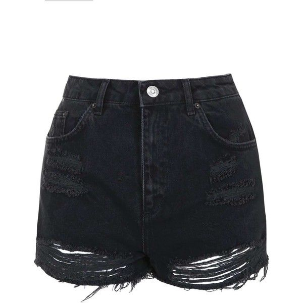 d04770e339 TopShop Moto Washed Black Ripped Mom Shorts ( 43) ❤ liked on Polyvore  featuring shorts