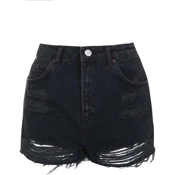 TopShop Moto Washed Black Ripped Mom Shorts (€36) ❤ liked on Polyvore featuring shorts, bottoms, short, pants, topshop, zipper shorts, destroyed shorts, torn shorts and short shorts