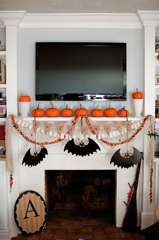 Awesome mantle that would work with my tv too halloween for How to decorate your fireplace for halloween