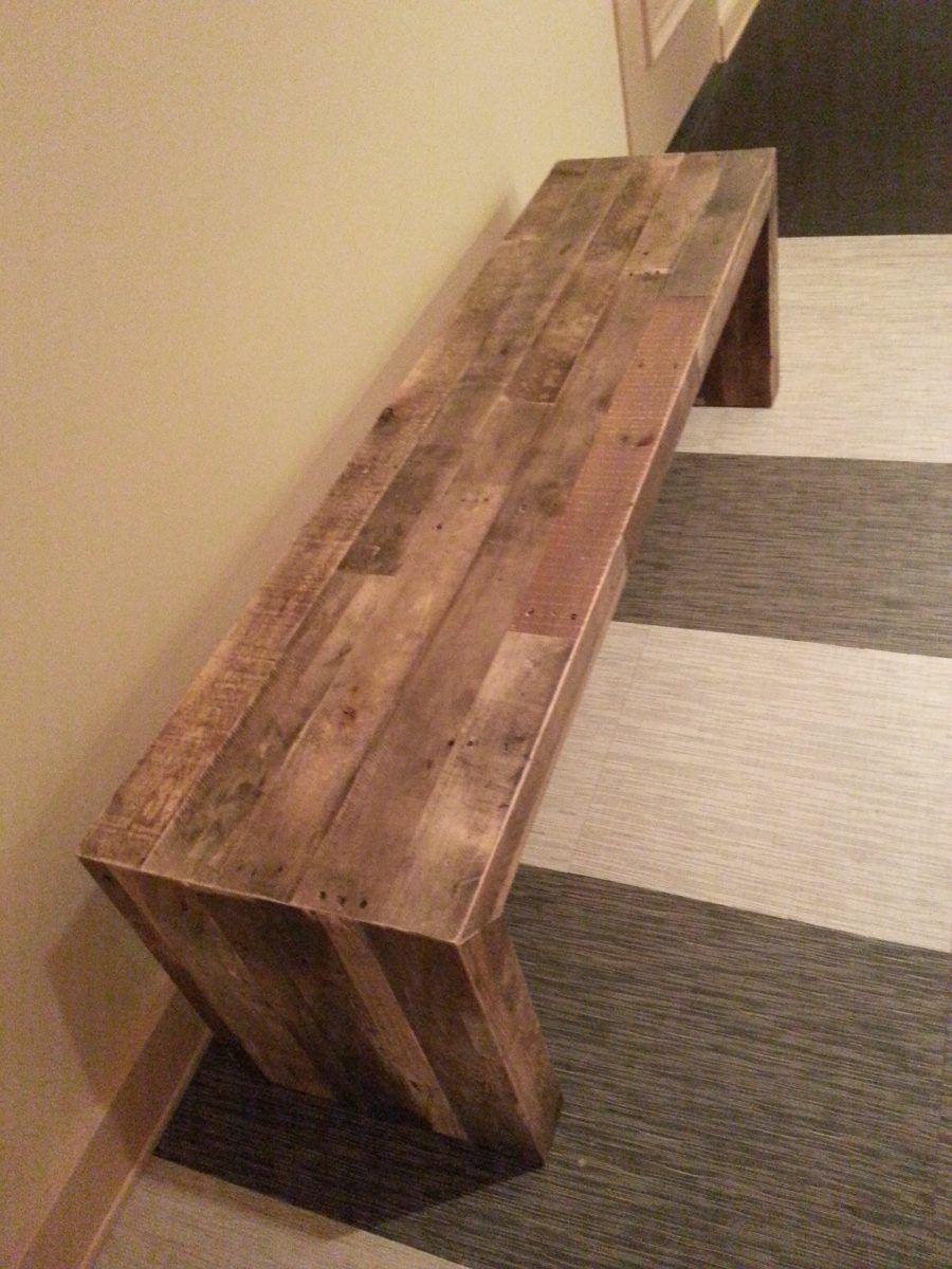 banco bajo rectangular mueble madera reciclada pie de cama