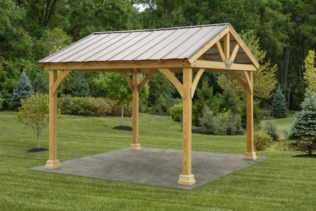 12x12 Backyard Wood Pavilion Kit Yardcraft In 2020 Patio Gazebo Backyard Pavilion Pergola Plans