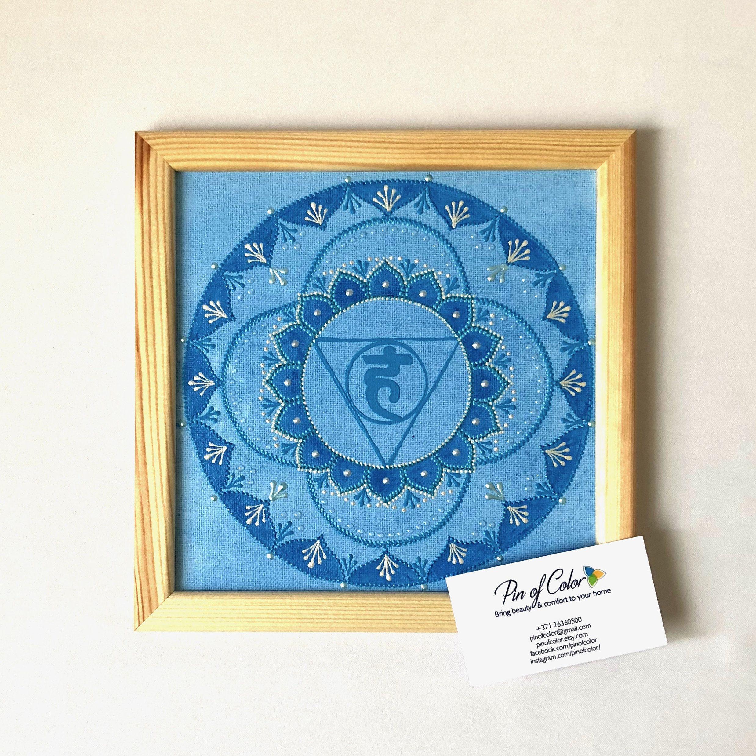 Chakra mandala on canvasyoga wall art vishuddha yoga