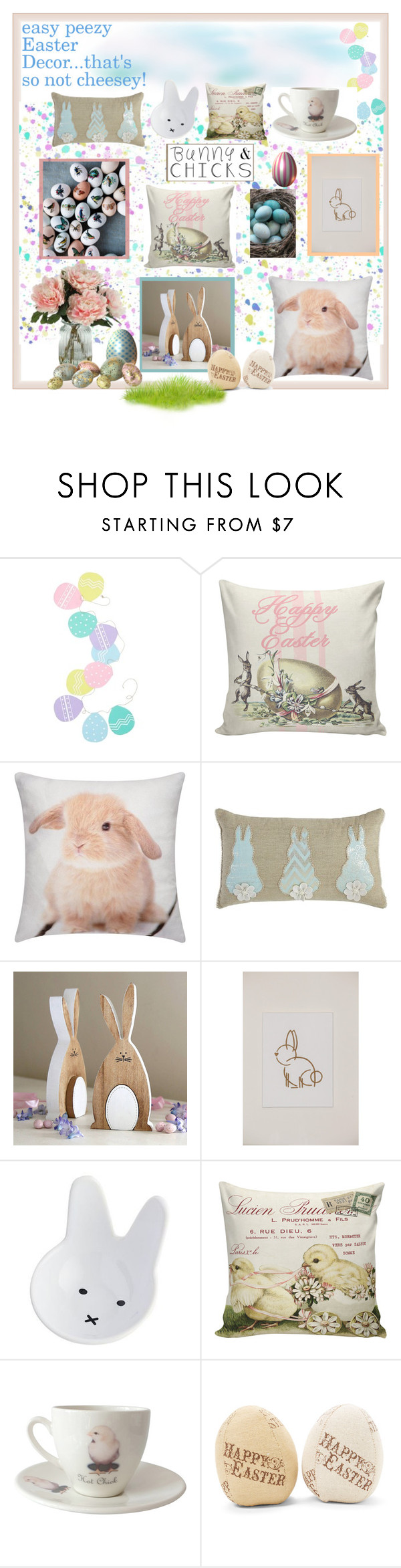 """Easy Peezy Easter"" by jennross76 ❤ liked on Polyvore featuring interior, interiors, interior design, home, home decor, interior decorating, Levtex, Pier 1 Imports, Outlandish Creations and bunnieschicks"