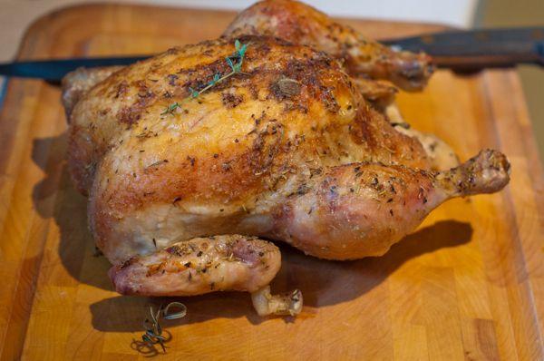 Roast chicken ready to carve on eatlivetravelwrite.com