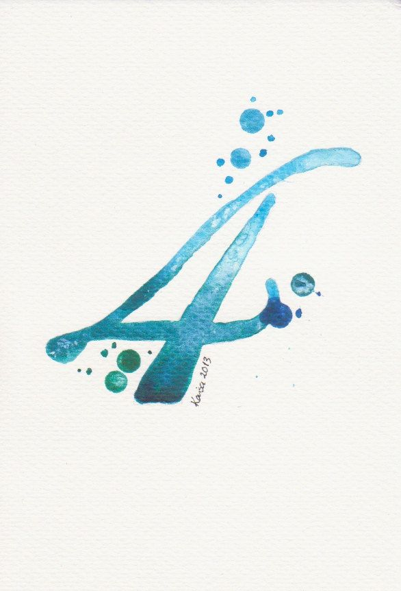 Blue Number Watercolor Painting Typography Painting Script
