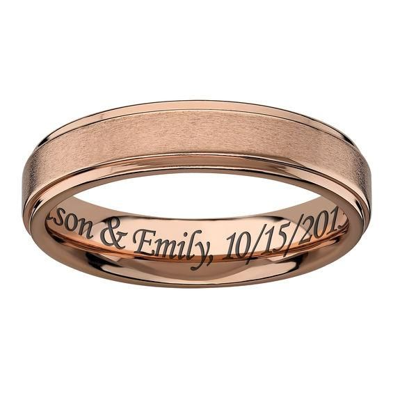 Zales Mens 5.5mm Multi-Finish Engravable Wedding Band in Two-Tone Titanium (1 Line) 3dOYNh