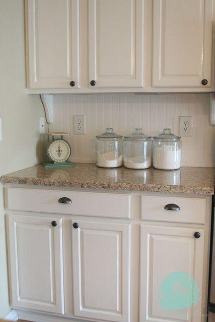 white beadboard backsplash, white cabinets | White Cabinet ...