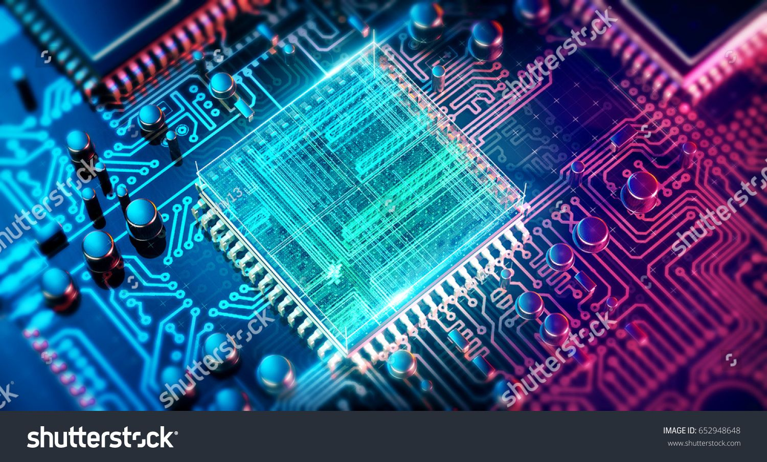 3d Rendering Of An Electronics Printed Circuit Board
