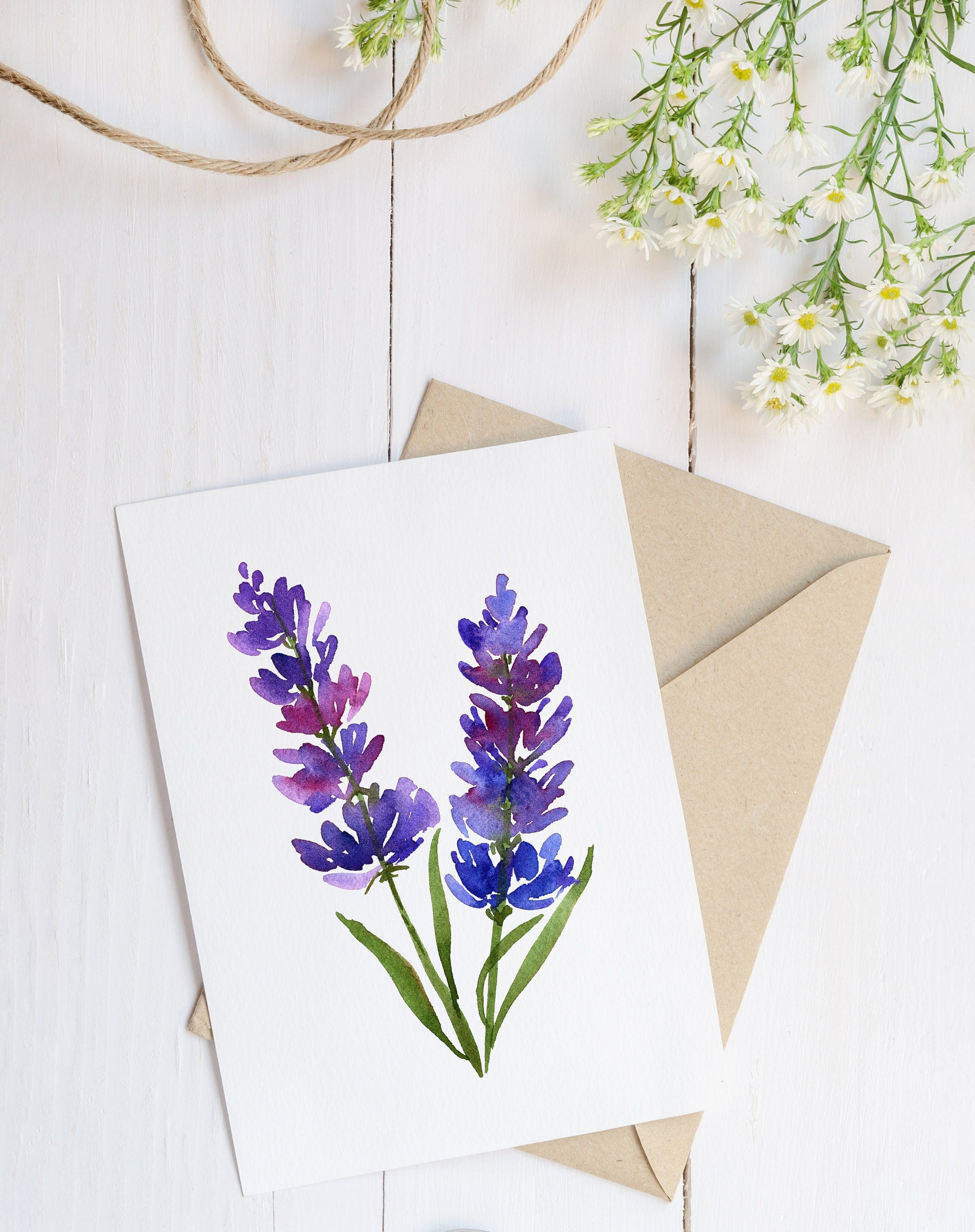 Lavender Flower Card Mother 39 S Day Watercolor Card Gift For Mom Mother Card Mother 39 Watercolor Flowers Card Diy Watercolor Cards Flower Cards