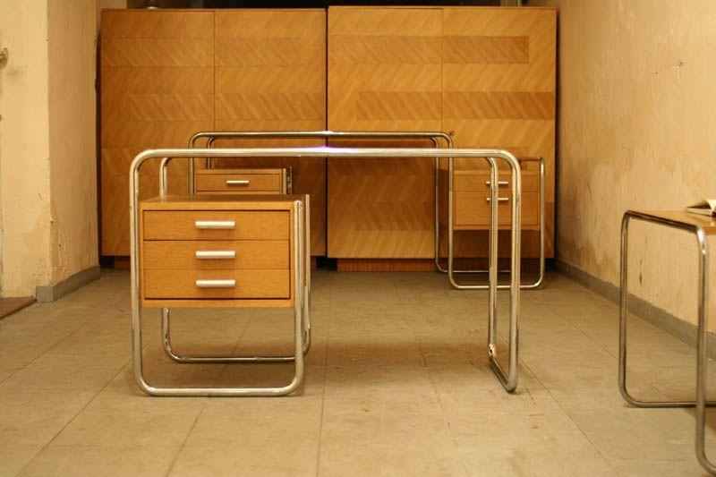 True Vintage Thonet Marcel Breuer Schreibtisch Stahlrohr Eiche