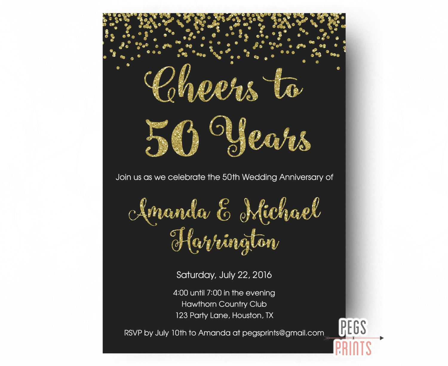 Image Result For 50th Wedding Anniversary Invitations 50th