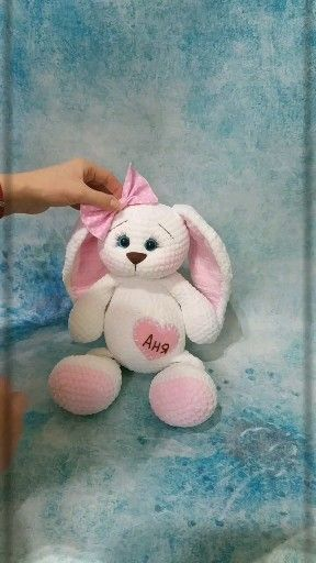 Photo of Crochet bunny pattern, personalized bunny crochet for baby. Amigurumi pattern bunny