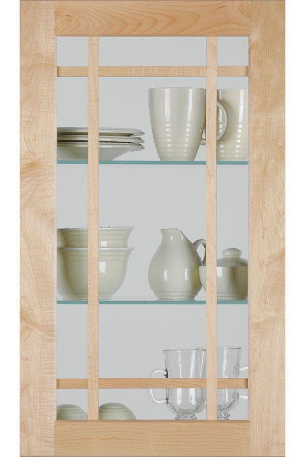 Shaker Mullion Cabinet Door With Antique Glass Insert Kitchen