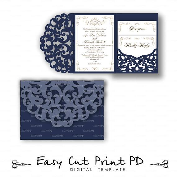 Set Of Tri Fold Pocket Envelope X Wedding Invitation Svg Dxf