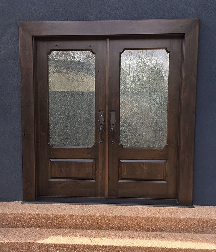 Knotty alder double doors in dark Spanish Oak stain with Baldwin Kensington handlesets and Delta Frost & Knotty alder double doors in dark Spanish Oak stain with Baldwin ...