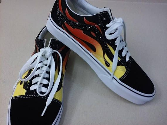 bc426045b1c Vans Flame Old Skool with Swarovski Crystal Women Size 8.5 Ready To Ship!  These Vans Old Skool Flame sneakers are HOT!! Heres your chance to add  these ...