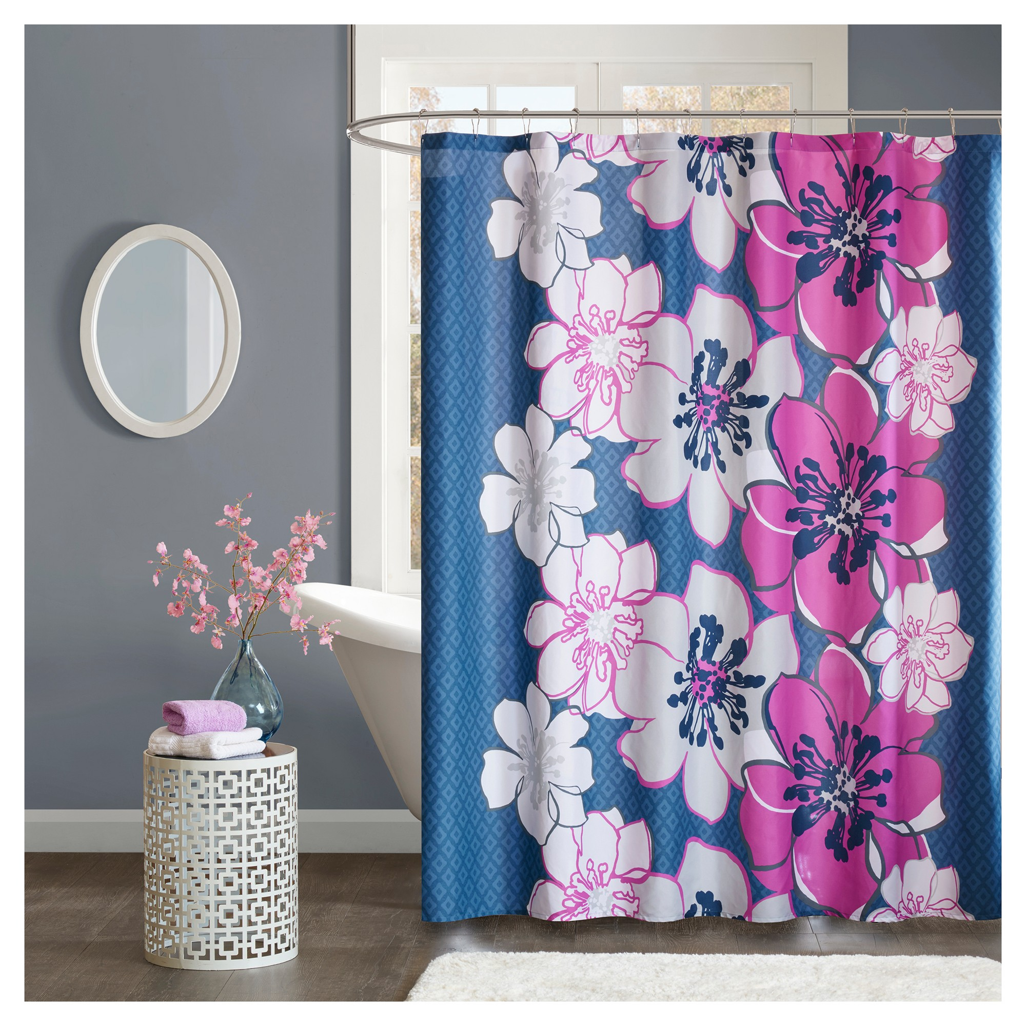 Floral Shower Curtain Flashbulb Fuchsia   Floral shower curtains and ...