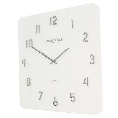 London Clock Co Modern Square White Glass Wall