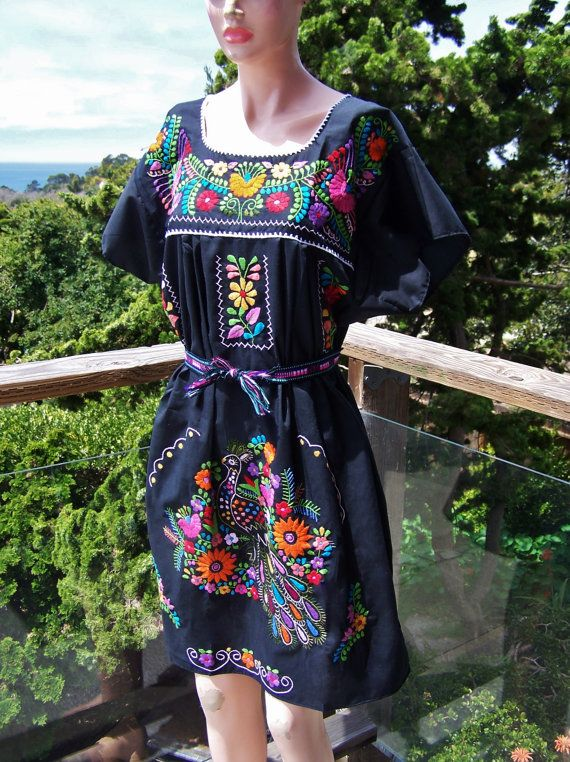 Mexican Dress Embroidered Mexican Black by GreenMarketVintage