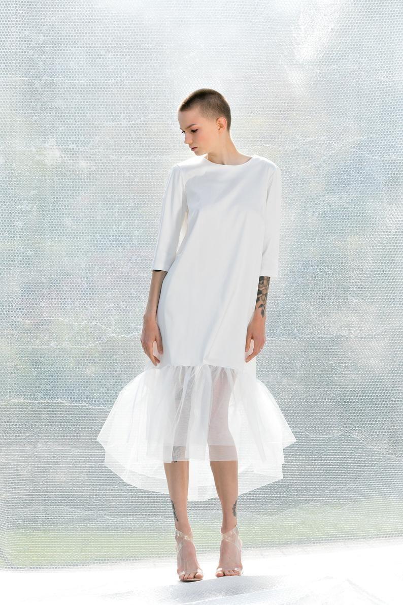 Women White Dress Tulle Dress Avant Garde Clothing Etsy White Dresses For Women White Dress Dresses [ 1191 x 794 Pixel ]