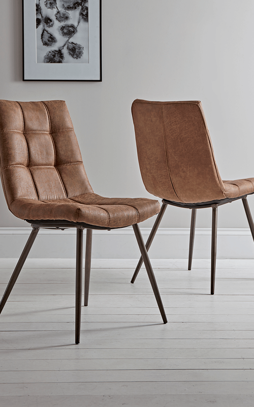 Two Soho Dining Chairs Tan Dining Chairs Uk Dining Room Furniture Modern Comfortable Dining Chairs
