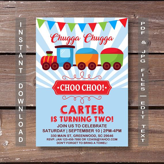 Train Invitation Birthday INSTANT DOWNLOAD Party Vintage