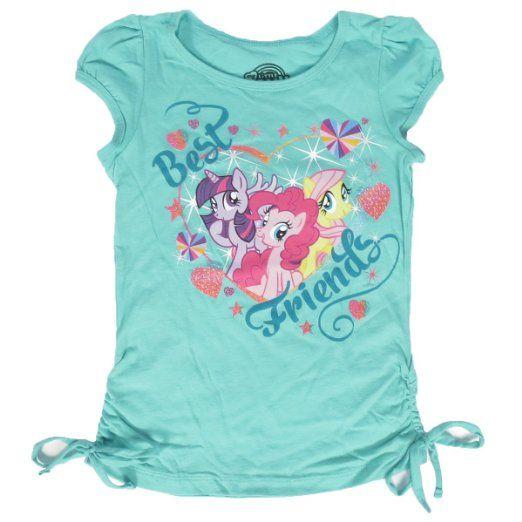 0521862ff354 Amazon.com: My Little Pony Best Friends Mint Glitter Girls T-Shirt (6):  Clothing