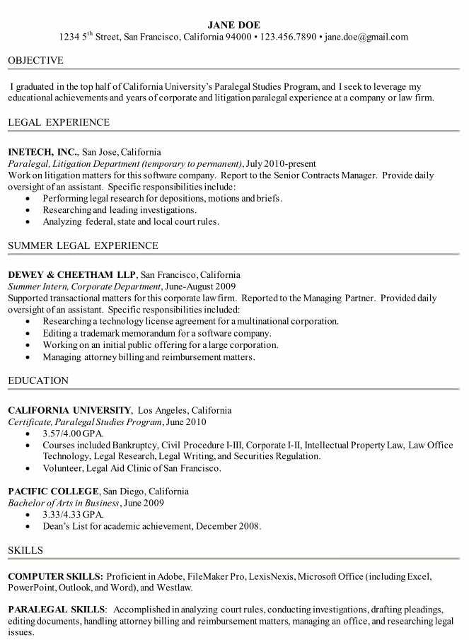 Sample Law School Resume How To Write A Paralegal Resume Including Samples  Paralegalism