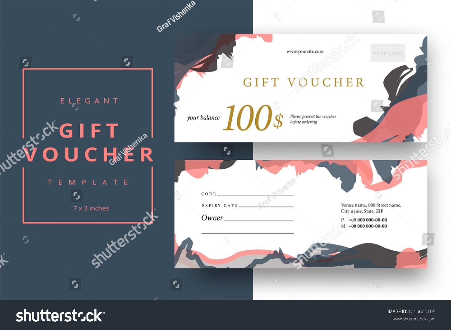 Abstract Gift Voucher Card Template Modern Discount Coupon Or Certificate Layout With Artistic Brush Strokes Pa Certificate Layout Card Template Gift Vouchers