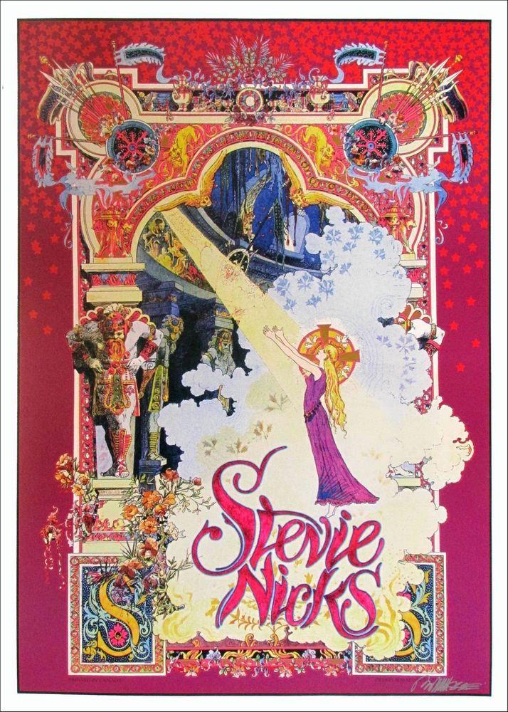 Details About Stevie Nicks Poster Celtic Light Original Printing Hand Signed By Bob Masse Art Nouveau Poster Rock Posters Concert Posters
