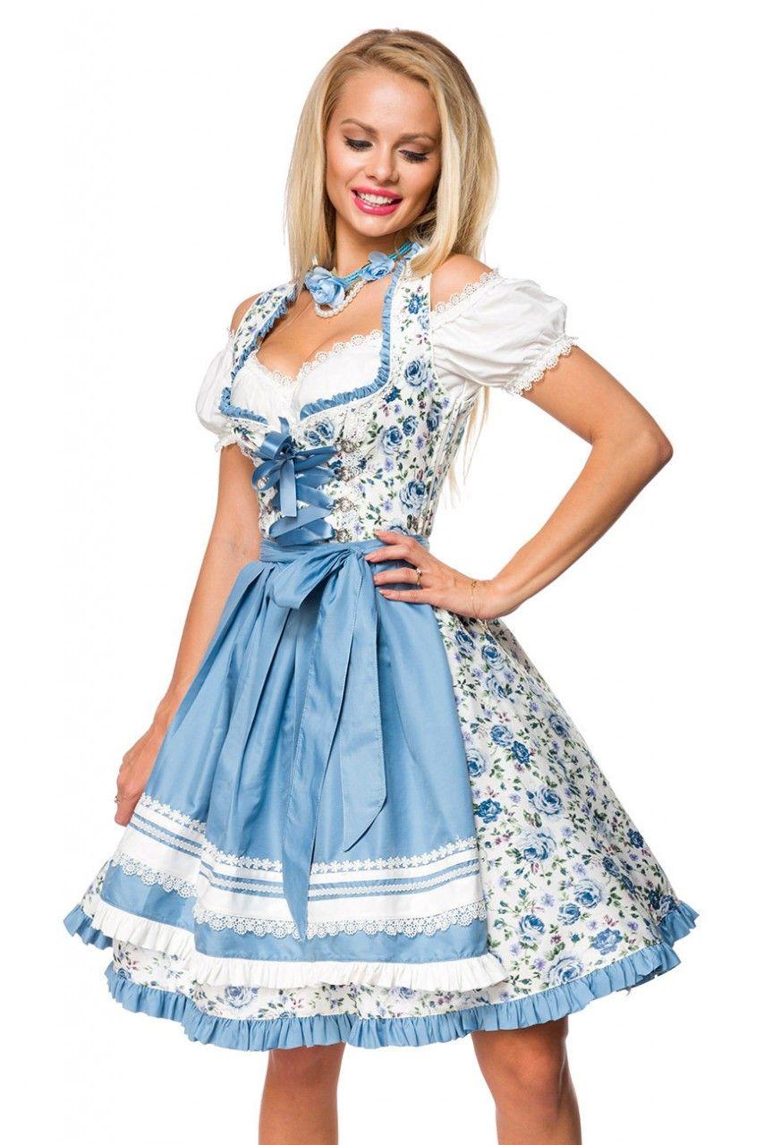 Romatisches Blümchen Dirndl ° Weiß Blau ° Dirndline in ...