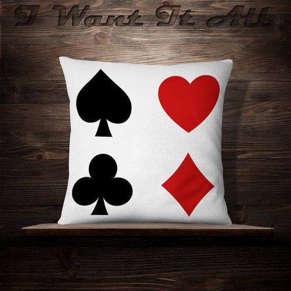 Playing Card Pillow Casino Room Decor Gambler Gift Roulette Lover