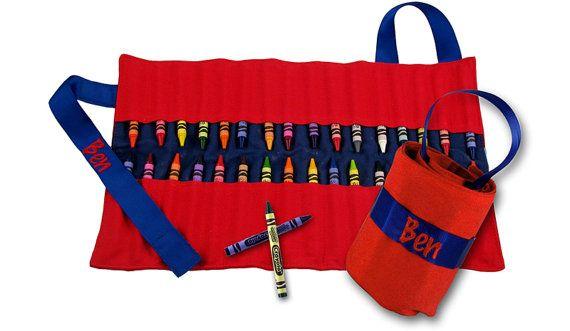 personalized crayola crayon keeper art caddy roll storage crayon