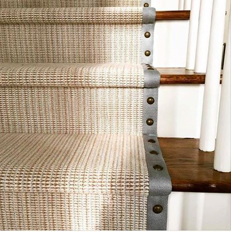 Wool Berber Wool Sisal Runners With Contrast Banding For