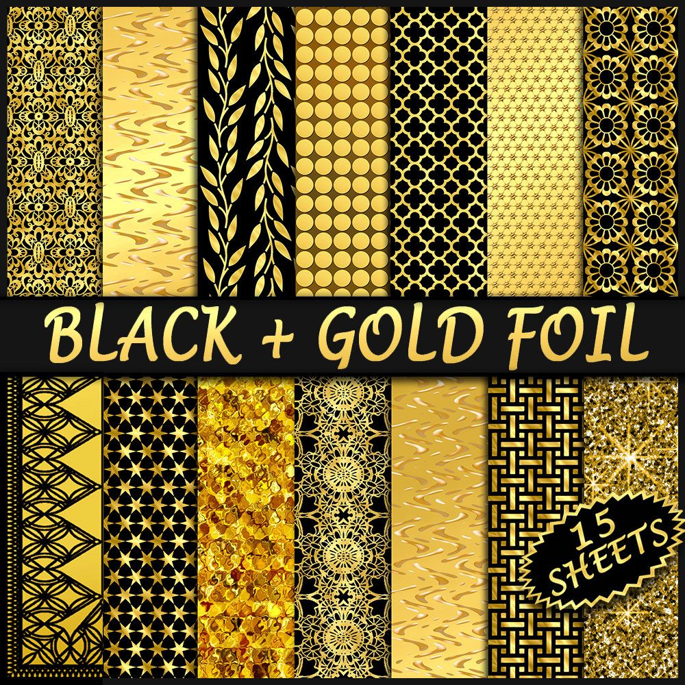 photo about Printable Foil Paper identify Black Gold Electronic Paper - 15 Golden Foil Papers