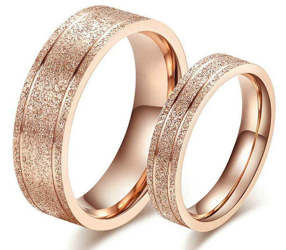 Couple Rings New Dull Polish Couple Rings rose gold