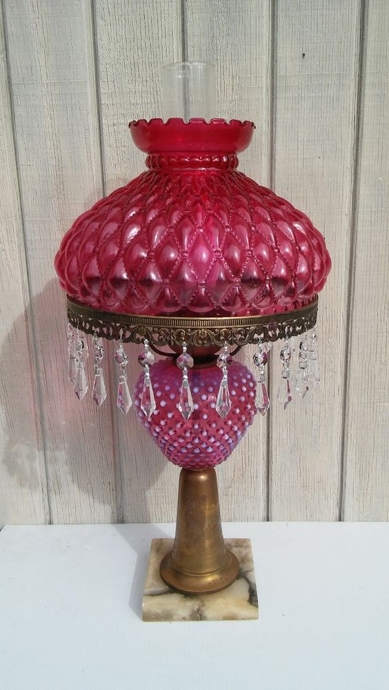 Vintage Cranberry Glass Lamp Crystal Prisms Marble Base Brass ...