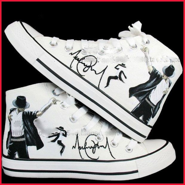 Michael Jackson Converse Hand Painted High Top Canvas Shoes