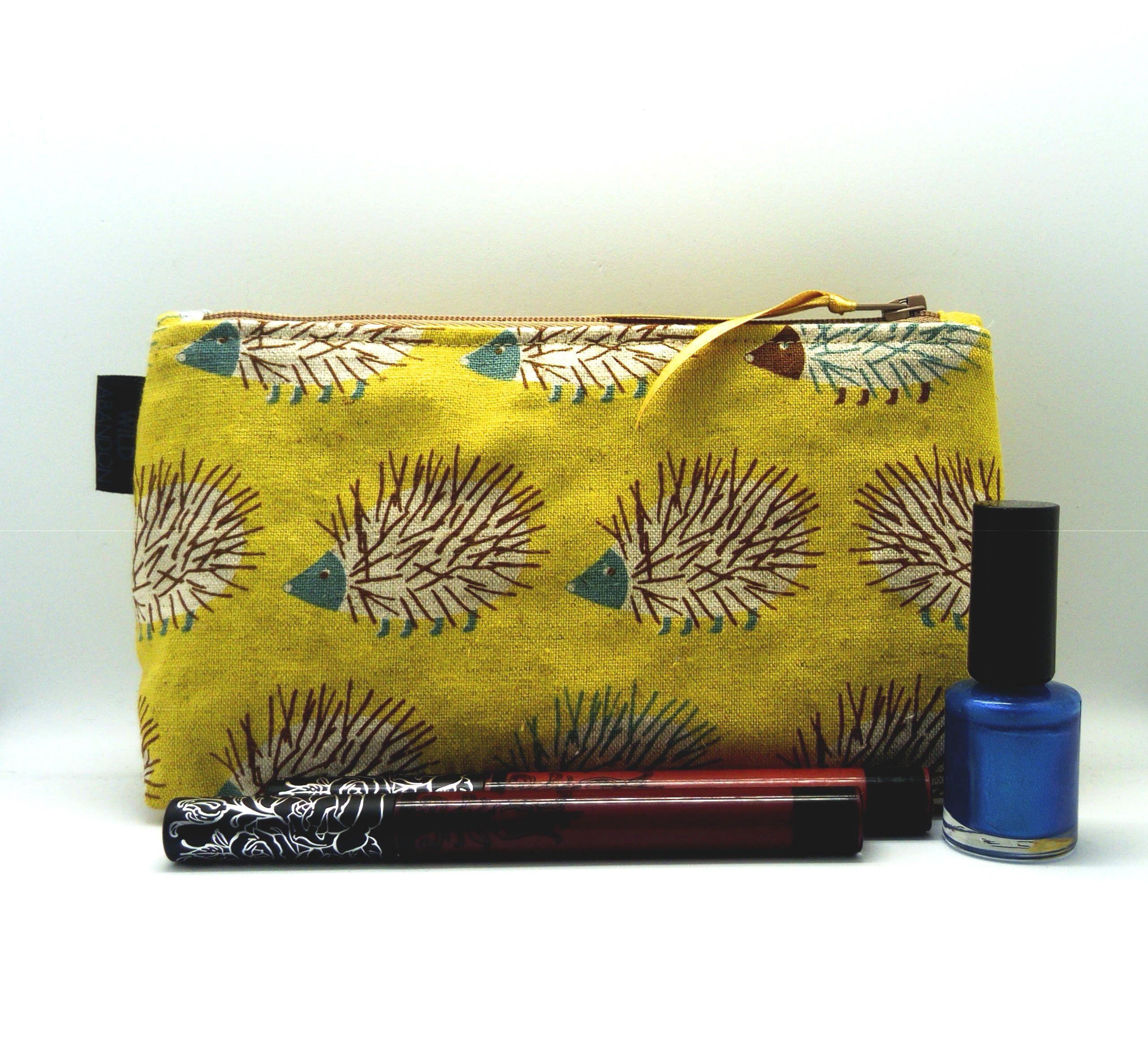 Yellow Hedgehog Makeup Bag Cute Cosmetics Gift Make Up