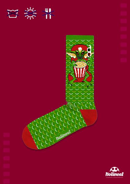 """Media 3/4 algodón, ilustración inspirada en el film """"Gremlins""""."""