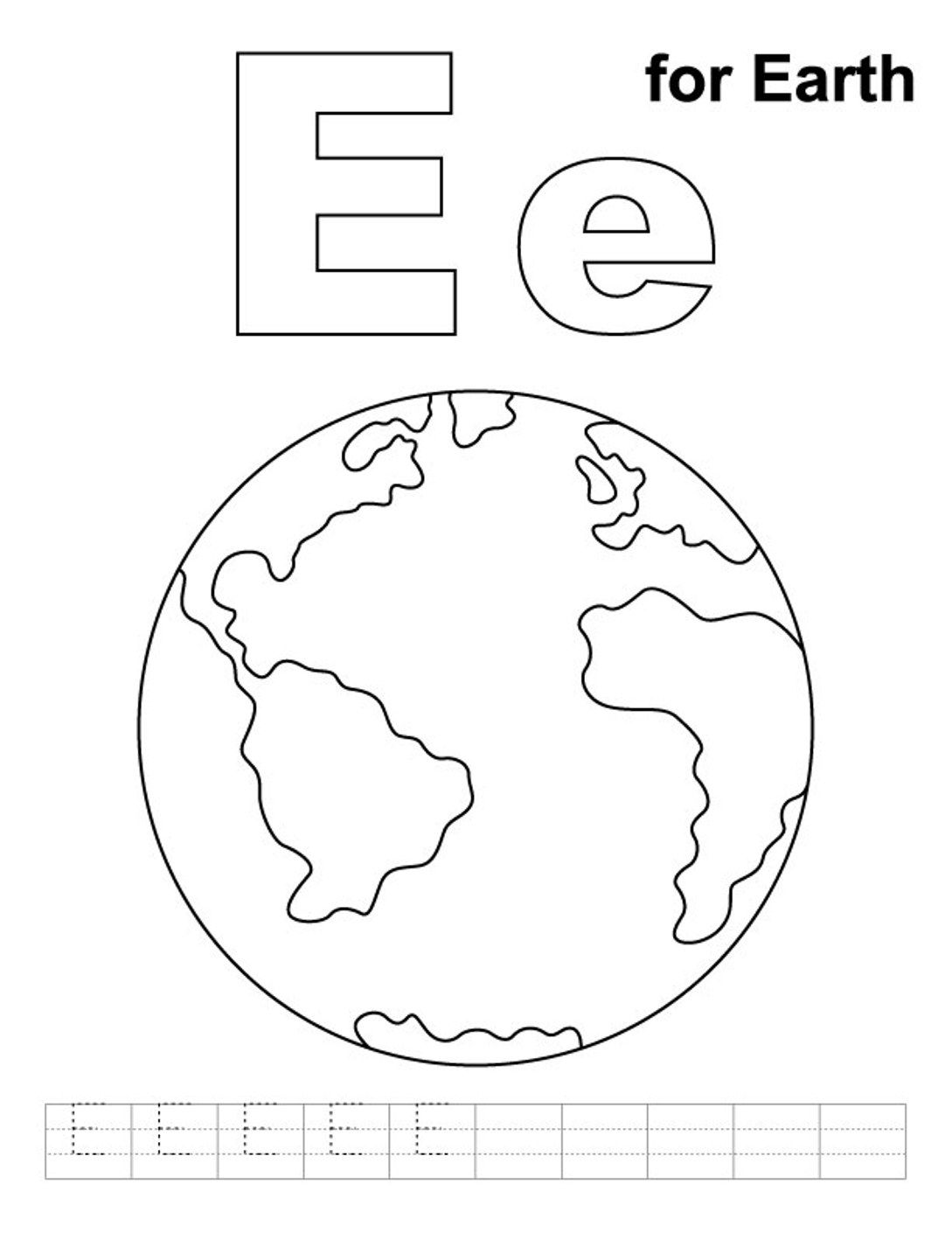 Alphabet Coloring Pages Free E For Earth