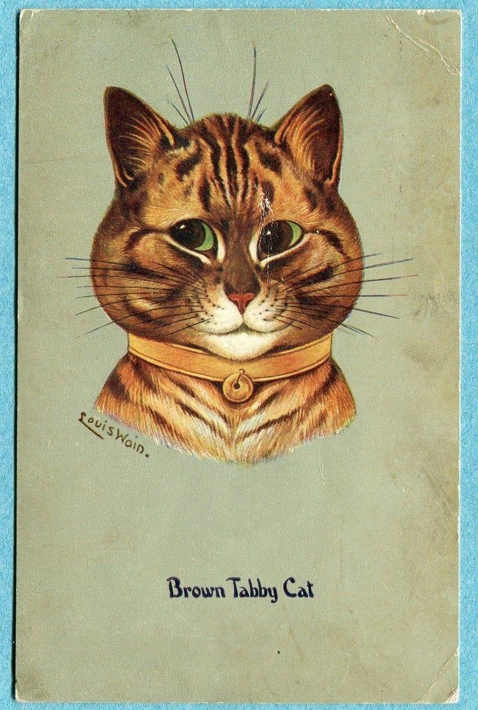 Brown Tabby Cat   postcard by Louis Wain