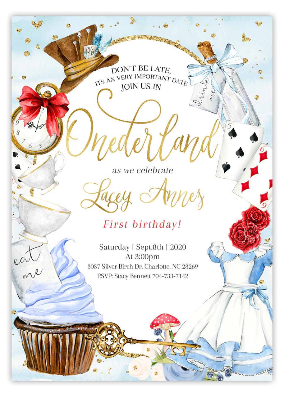 alice in wonderland birthday invitation