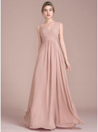 A-Line Princess V-neck Floor-Length Chiffon Bridesmaid Dress With Ruffle  (007105575) 8fe0e02c15c8