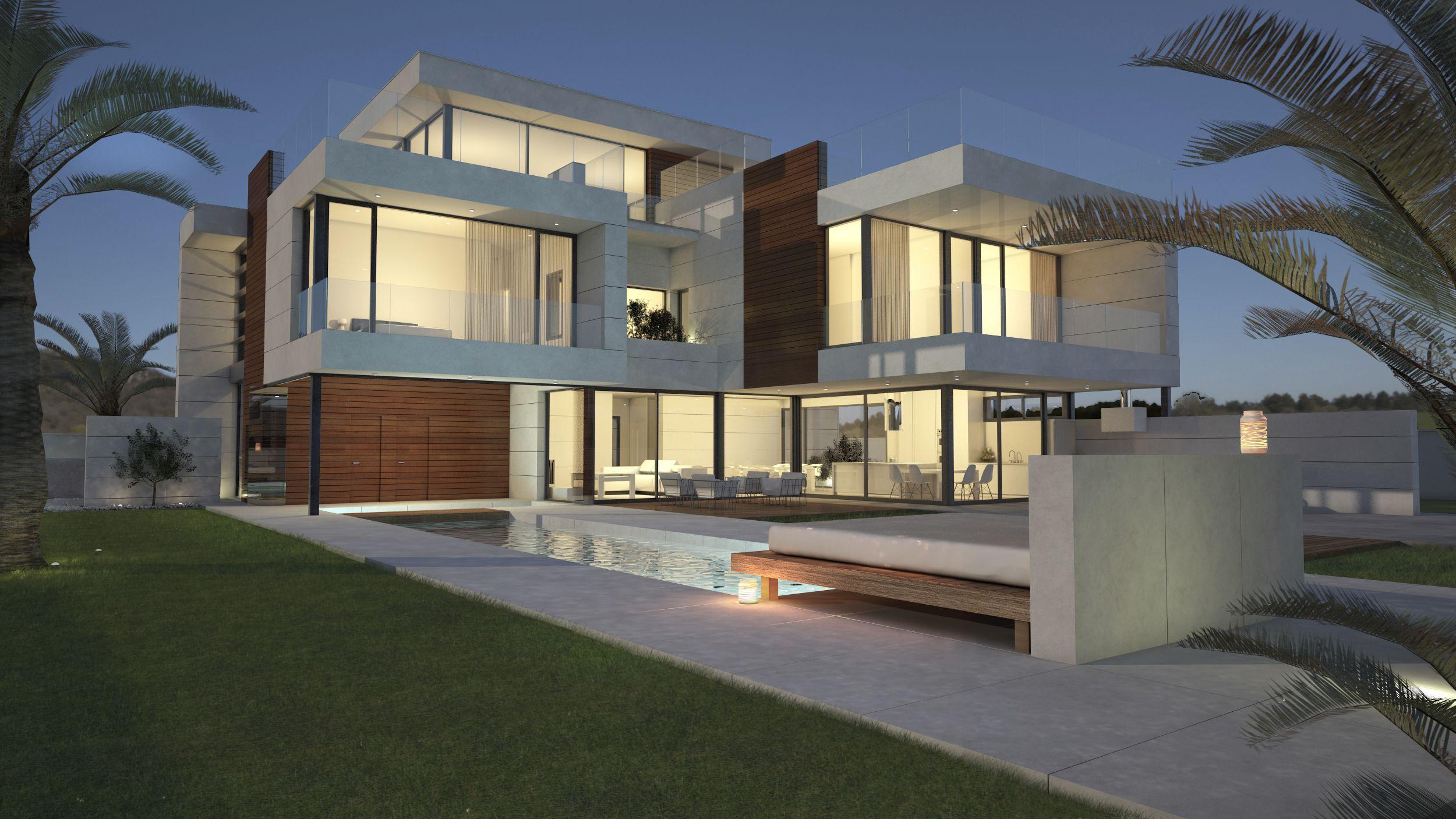 Render fachada principal para vivienda unifamilar dise o - Fachadas viviendas unifamiliares ...
