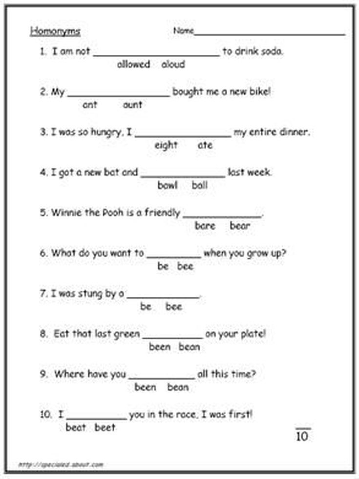 Homophones Worksheet | Worksheets, Language arts and Language