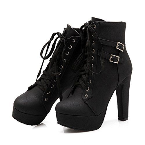 Women's Casual Buckle Strap Round Toe Lace Up Martin Boots Platform Mid Heel Wedge Ankle Booties
