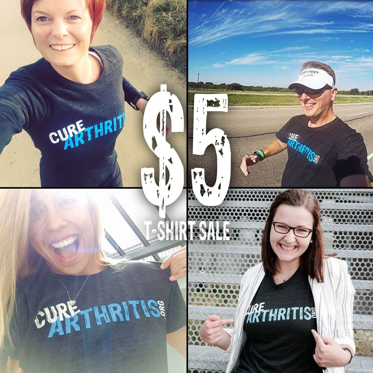 #CureArthritis T-shirts for $5! Next month is Arthritis Awareness Month and we want YOU in a Cure Arthritis T-Shirt! Get yours today for $5 while supplies last and get ready to spread arthritis awareness! Shirts available at CureArthritis.org/t-shirt