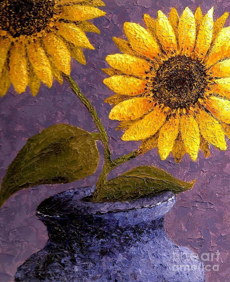 Sunflowers in Ceramic Pot Painting  - Sunflowers in Ceramic Pot Fine Art Print