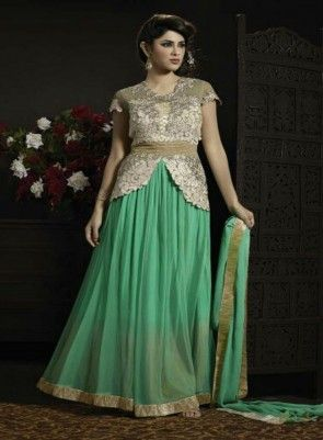 Magnificent #MintGreen #Gown Style #Anarkali Features net kameez alongside santoon bottom inner and chiffon dupatta.Embroidery work is completed with zari,thread work embroidery.